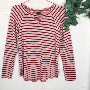 Anthro Left of Center | Red & White Striped Tee L